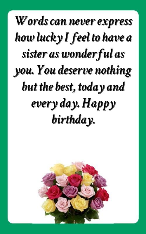 birthday caption for a sister