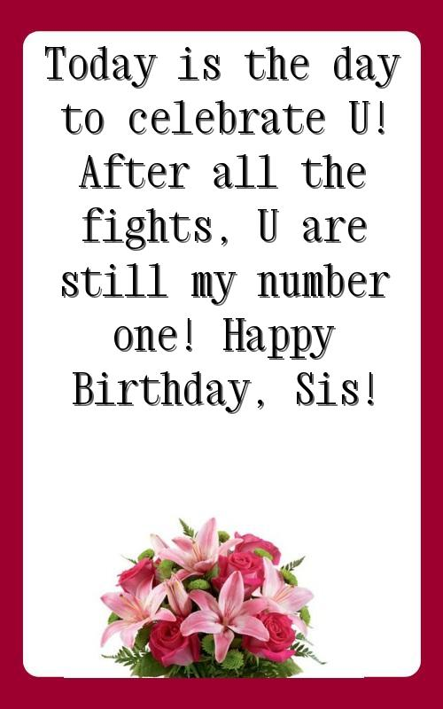 happy birthday sister wishes in english